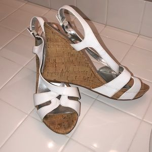 Guess Brand white and tan wedges size 10.